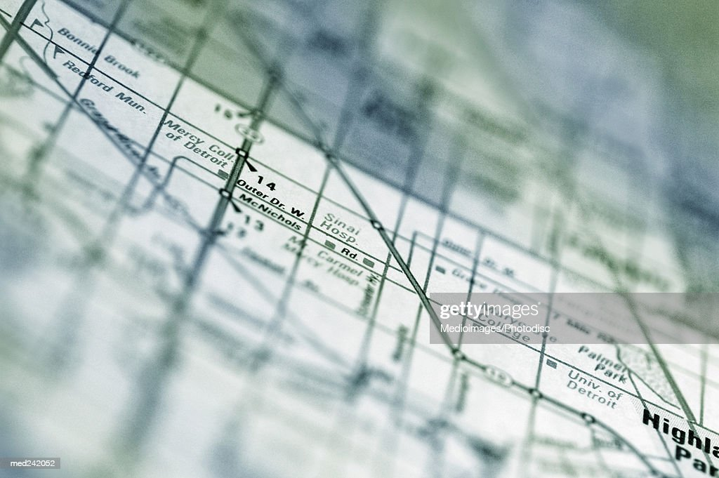 Close-up of a route on a map : Stock Photo