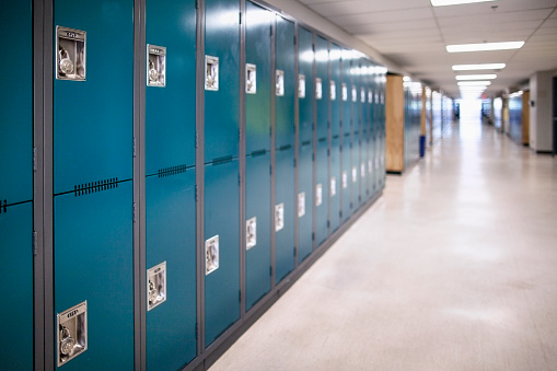 Close-up of a row of school lockers 1176393986