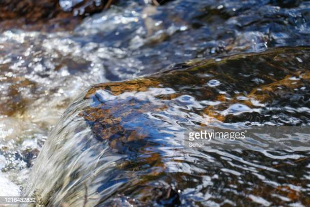 close-up of a running water in a stream in the spring in clear light - falling water flowing water stock pictures, royalty-free photos & images