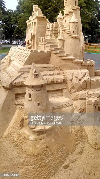 Close-up of a sandcastle