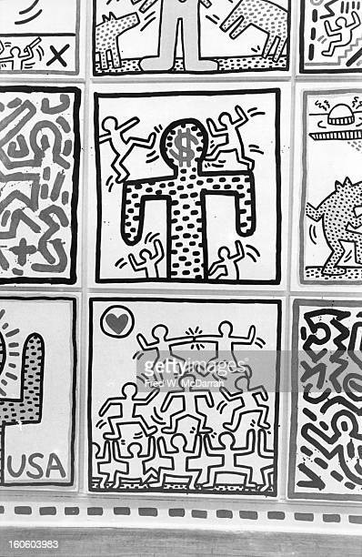 Closeup of a section of an installation of works by artist Keith Haring during an exhibition at the Shafrazi Art Gallery in Soho New York New York...