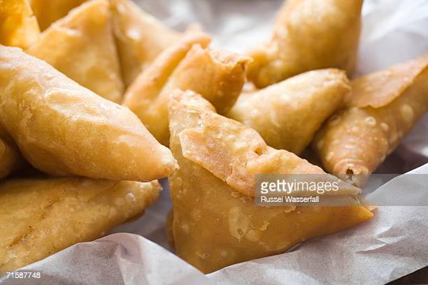 Close-up of a Selection of Samosas