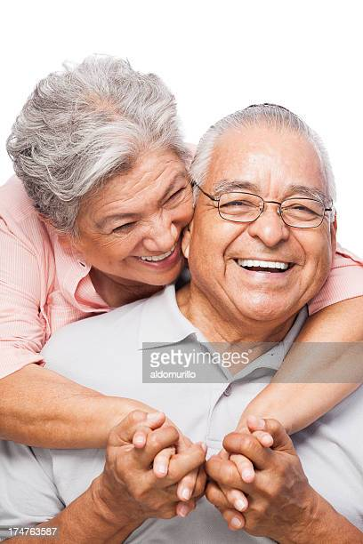 Close-up of a senior couple laughing together