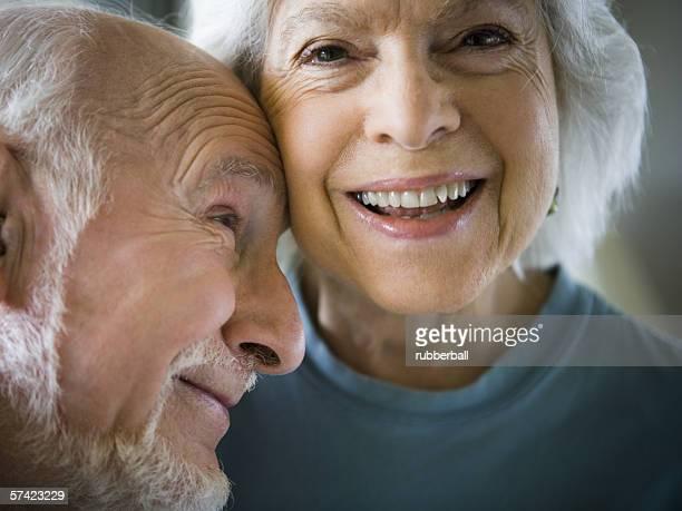 Close-up of a senior couple smiling