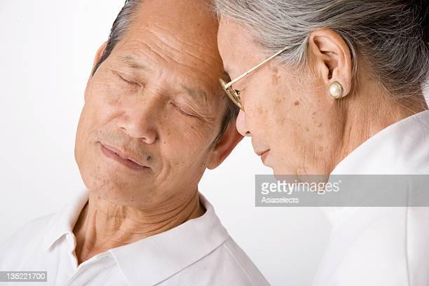Close-up of a senior woman and senior man