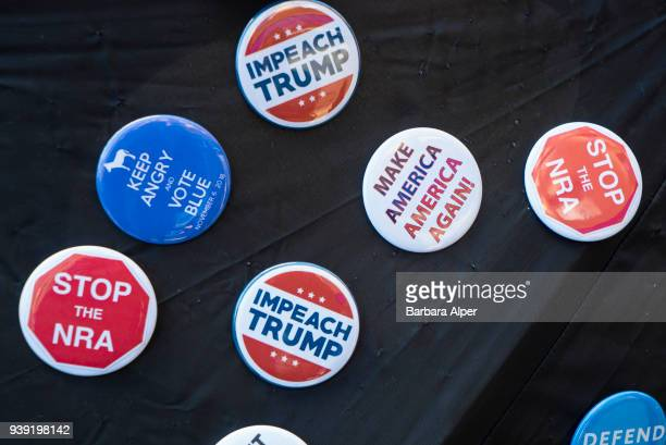 Closeup of a set of political buttons New York New York March 24 2018 The buttons seen during the March For Our Lives rally against gun violence read...