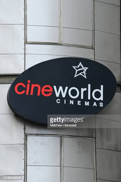 A closeup of a sign at the Cineworld cinema on October 4 2020 in Cardiff Wales The cinema is drawing up plans to close all 128 of its cinemas putting...