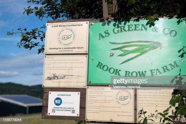 A closeup of a sign at the entrance to the AS Green and Co farm on July 12 2020 in Mathon Herefordshire AS Green and Co based in Mathon near Malvern...