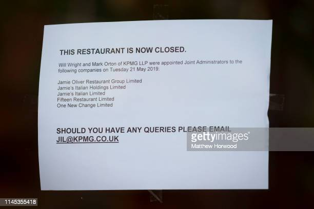 A closeup of a sign in the window the Jamies Italian restaurant on the Hayes on May 21 2019 in Cardiff United Kingdom More than 1000 jobs are at risk...