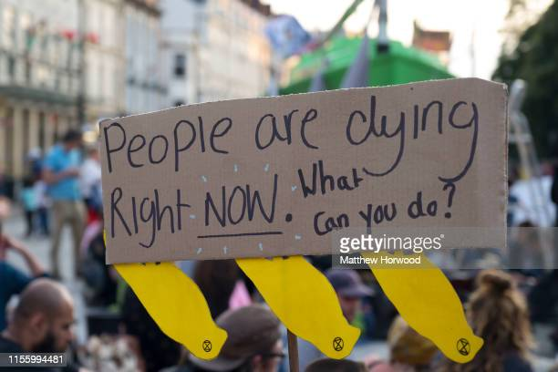 A closeup of a sign outside Cardiff Castle as the environmental protest group ends day two of a series of protests collectively called 'Project...