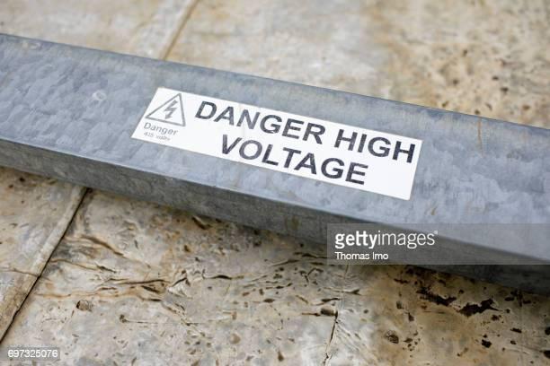 Closeup of a sign saying 'Danger High Voltage' at Strathmore University on May 17 2017 in Nairobi Kenya