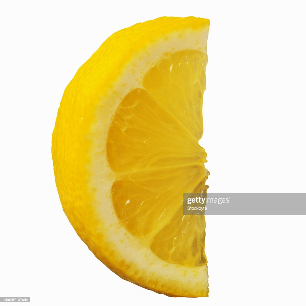 closeup of a slice of lemon ストックフォト getty images