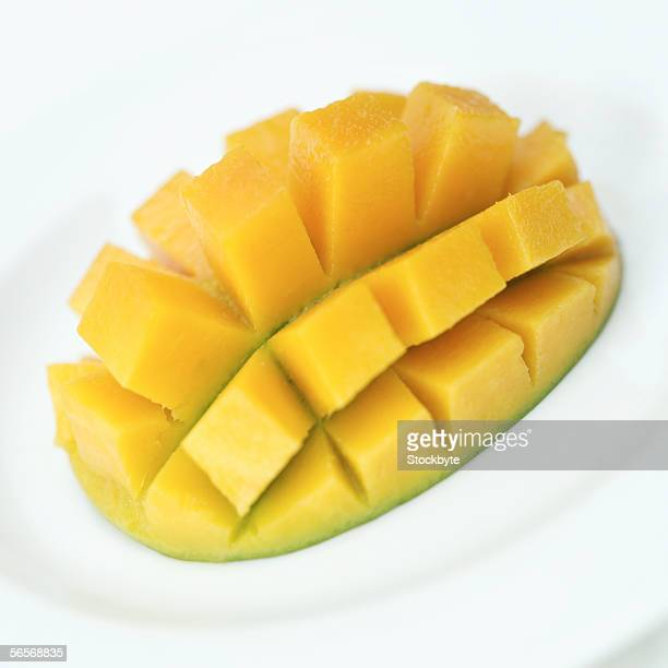 close-up of a slice of mango