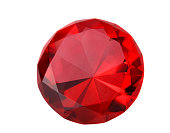 Close-up of a sparkling red ruby