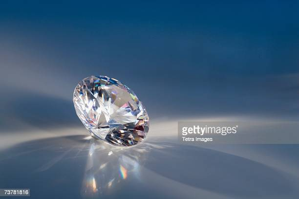 Close-up of a sparkly clear faceted gem