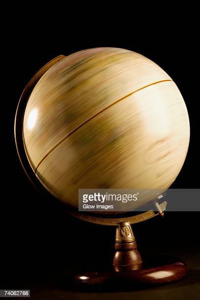 Close-up of a spinning globe