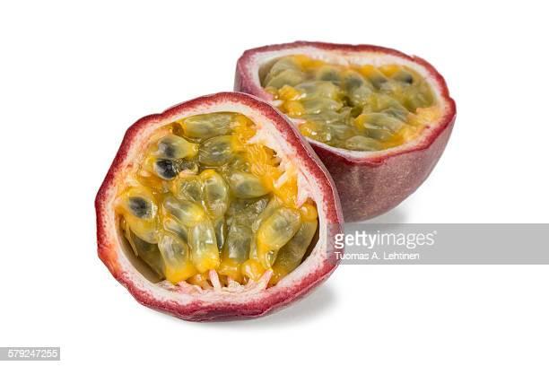 Closeup of a split passion fruit