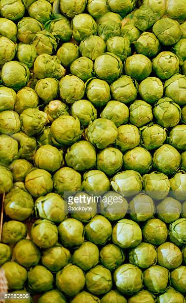 Close-up of a stack of brussels sprout in a market in Barcelona
