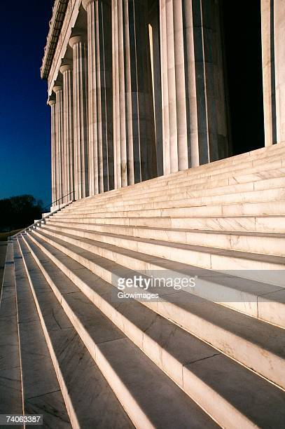 Close-up of a staircase and columns of a building, Lincoln Memorial, Washington DC, USA