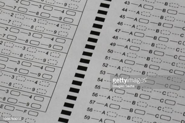 close-up of a standardized multiple choice test form - routine stock pictures, royalty-free photos & images