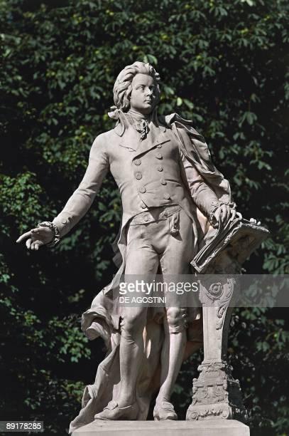 Closeup of a statue Mozart Statue Vienna Austria