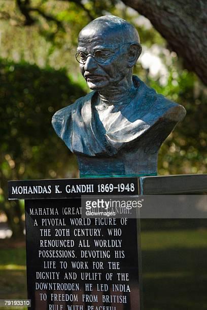 Close-up of a statue of Mahatma Gandhi in a park, Lake Eola Park, Orlando, Florida, USA