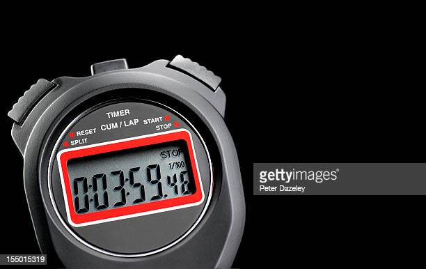Close-up of a stop watch, with copy space