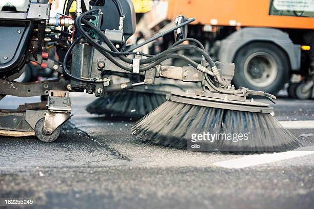 close-up of a street cleaning truck - street sweeper stock pictures, royalty-free photos & images