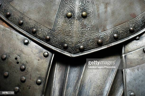 close-up of a suit of armor, cannon tower, kiek in de kok, tallinn, estonia - traditional armor stock pictures, royalty-free photos & images