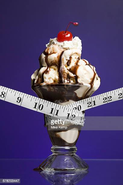 Close-up of a tape measure around an ice-cream