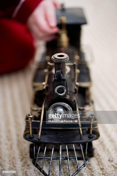 closeup of a toy train