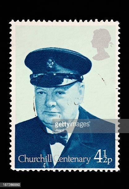 Gros plan d'un royaume-uni Timbre montrant portrait de Winston Churchill