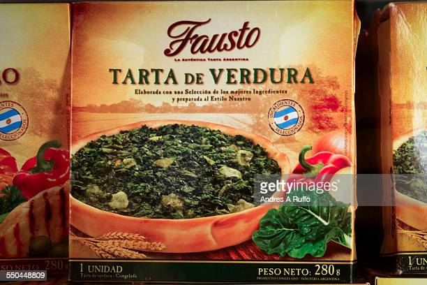 Closeup of a vegetable tart packaged frozen isolated