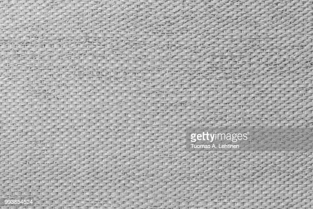 Close-up of a weave as woven background texture or pattern in black and white