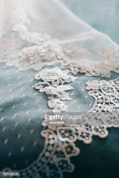 close-up of a wedding veil - frilly stock photos and pictures