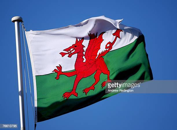 Close-up of a Welsh flag during the final round of the Omega European Masters at Crans-Sur-Sierre Golf Club on September 9, 2007 in Crans Montana,...