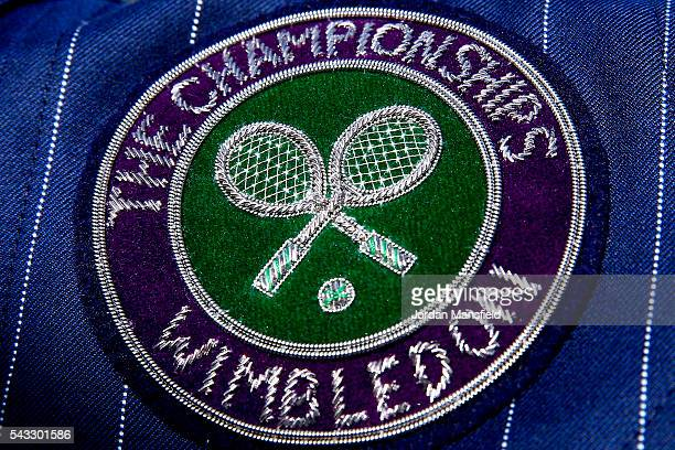 A closeup of a Wimbledon emblem on a stewards blazer during day one of the Wimbledon Lawn Tennis Championships at the All England Lawn Tennis and...