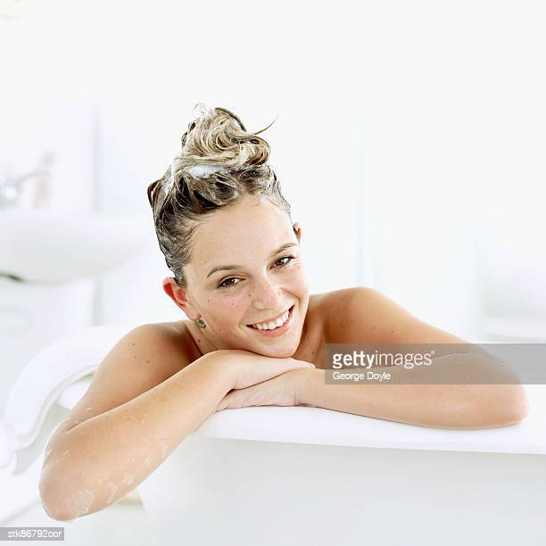 close-up of a woman in a bathtub