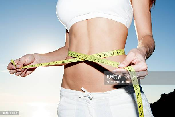 Close-up Of A Woman Measuring Her Waistline
