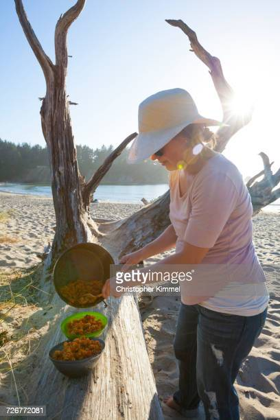 close-up of a woman serves pasta dinner on the beach - sunset bay state park stock pictures, royalty-free photos & images