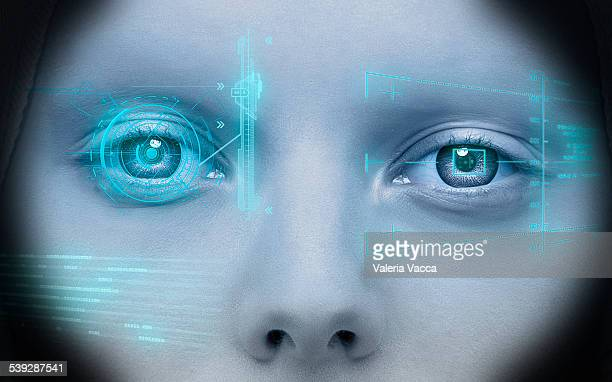 Close-up of a woman with hi tech heads-up display