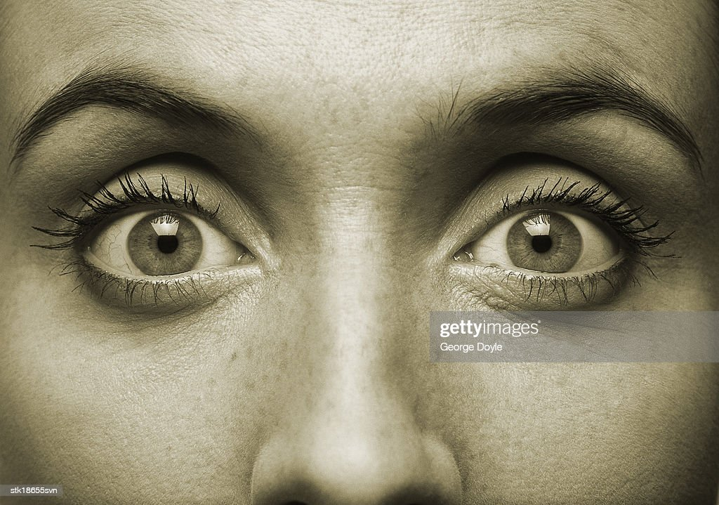 close-up of a woman's eyes and nose (toned) : Stock Photo