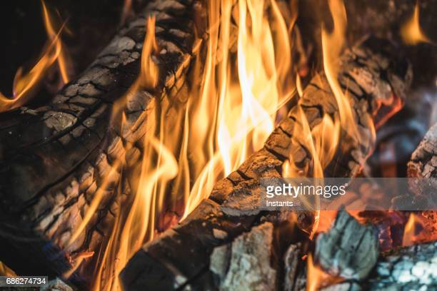 Close-up of a wood fire burning.