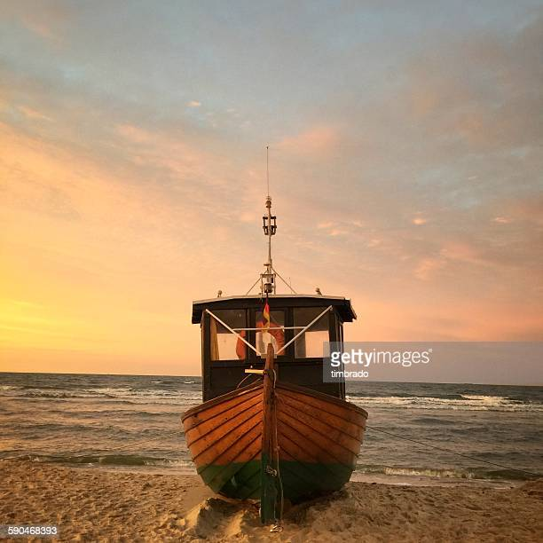 Close-up of a wooden boat on beach, Baltic sea, Germany