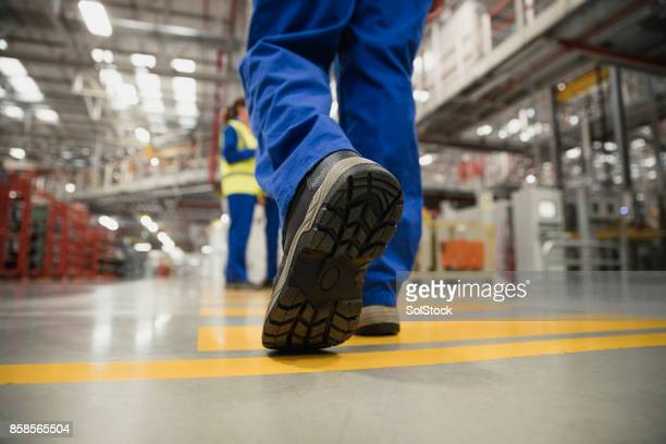 close-up of a workers boot - shoes stock pictures, royalty-free photos & images