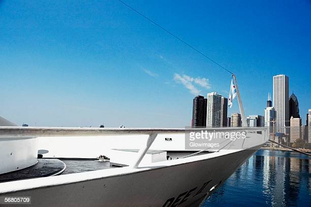 Close-up of a yacht docked at a harbor, Navy Pier, Chicago, Illinois, USA