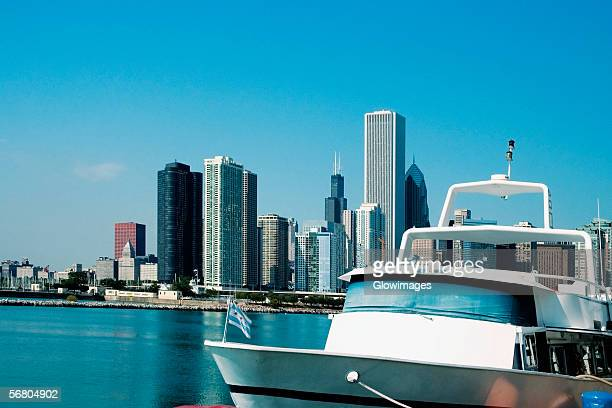Close-up of a yacht moored at a harbor, Lake Michigan, Chicago, Illinois, USA