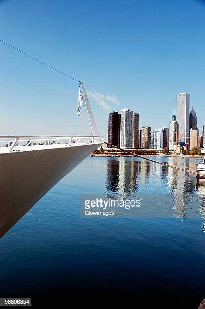 Close-up of a yacht moored at a harbor, Navy Pier, Chicago, Illinois, USA