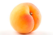 Close-up of a yellow-red apricot isolated on white
