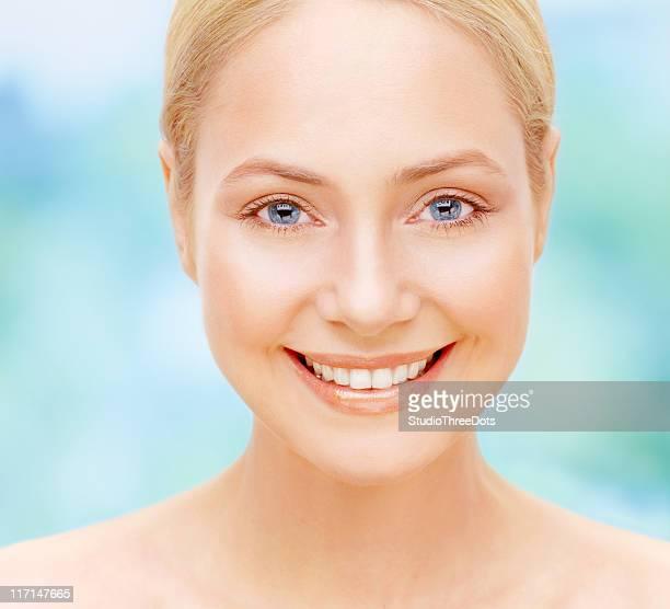 Closeup of a young beautiful woman